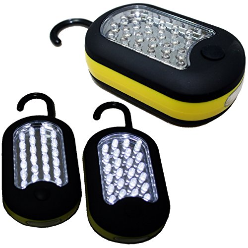 BlueDot Trading- Three 27 LED Hanging Light Compact Work Utility Light Magnetic with Hook, 3-Pack