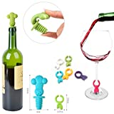 3 Wine Stoppers, Zdatt Head Chef Colorful Reusable Silicone Wine Bottle Stopper with Glass Markers Perfect for Wine, Champagne, Beverage, Beer