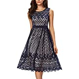 Noctflos Women's A Line Lace Midi Swing Cocktail Dress For Wedding Guest Holiday Party