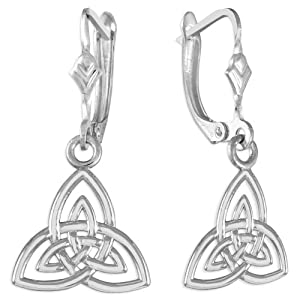 14k White Gold Trinity Earrings