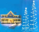 Set of 2 Multi-Color LED Lighted Outdoor Spiral Christmas Trees Yard Art 3' - 4'