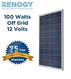 Poly RENOGY 100W Watts 100 Watt Polycrystalline Solar Panel UL Listed Off Grid 12 Volt 12V RV Boat