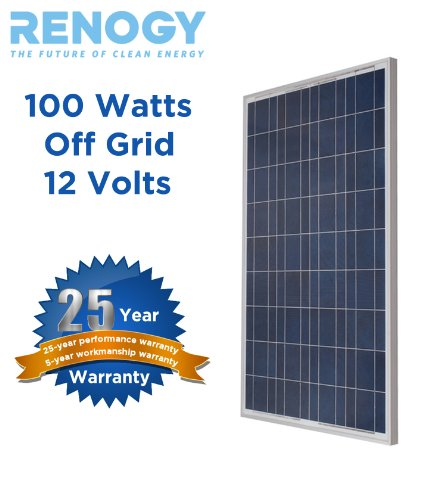 Poly RENOGY 100W Watts 100 Watt Polycrystalline Solar Panel UL Listed Off Grid 12 Volt 12V RV Boat