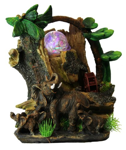 Elephants with Tree Trunk Tabletop Water Fountain