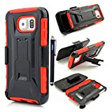 Galaxy S 6 Case,Samsung Galaxy S6 case cover,Slim Belt Case & Belt Clip Holster with Kickstand [Integrated X series Back Clip][Heavy Drop Protection] Ultra Thin GRIPshell - Samsung Galaxy S 6 ,3 in 1 3-piece Combo Hybrid Armor Defender Full Protection [Heavy Duty] back Clip Holster with Kickstand ArmoCase Series with [Kickstand Funtion] and Rotating Belt Clip [HOLSTER] for Samsung Galaxy S6,High Impact Body Armor Hard flexible and durable PC and TPU material Hard Case Cover Protector For Samsung Galaxy S6 New 2015 Release with one stylus pen/1 screen touch pen (Vogue shop-red)