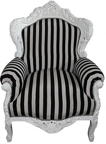Baroque Armchair 'King' Black / White Stripes / White