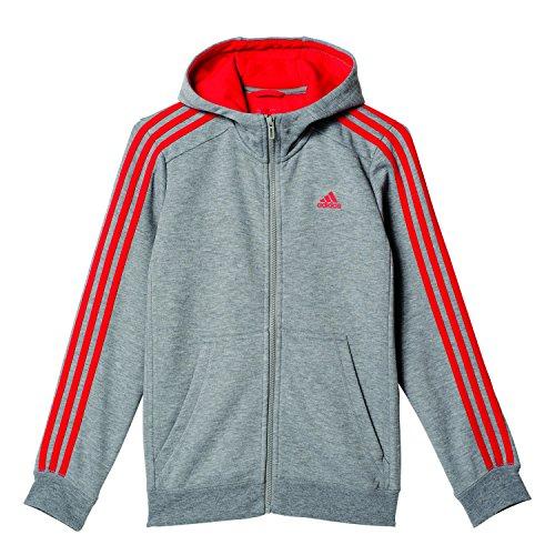 adidas-jungen-essentials-3-stripes-kapuzenjacke-core-heather-vivid-red-164