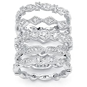 Paris Jewelry 3 Carat Diamond Silver Tone 5 Set Stackable Ring