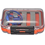 Mudder Small Fly Fishing Tackle Box with String Ring Double Sides Waterproof Foam Case - Orange
