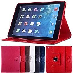 AirCase Premium Leather 360 Degree Rotatable Slim Portfolio Case with Magnetic Closure for Apple iPad Air (Red)