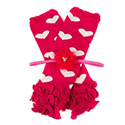 Patsy\'s Hot Pink Heart Ruffle Leggings and Headband Gift Set