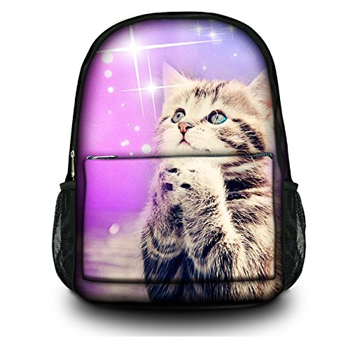 "Colorfulbags® NEW HOT Selling Fashion cute cat Women Men (boy & girl) Comfortable Rucksack Bookbag Satchel Shoulder Cover Outdoor School Traveling Gym Bag Office Casual Canvas Backpack Bag Washable Case Protector ,holds laptops 13"" 14"" 15"" 15.6 inches"