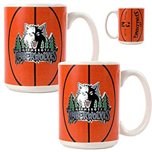 Minnesota Timberwolves NBA 2pc Ceramic Gameball Mug Set - Primary Logo by Great American Products