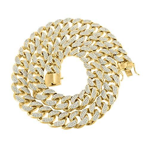 14K-Gold-Finish-Lab-Diamond-Thick-18MM-Mens-Heavy-Miami-Cuban-Chain-400-Grams