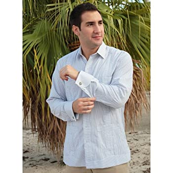 Deluxe French Cuffed fitted White-Gray Stripped Guayabera