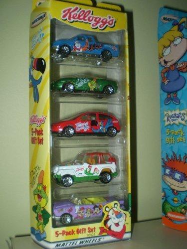 kellogs-5-die-cast-car-set-w-tony-the-tiger-toucan-sam-snap-crackle-pop-diggum-by-mattel