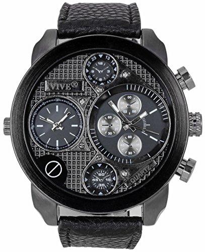 Banger Dualtime Black Chronograph for Men Double Temps Zwei Zonen Navigator Herrenuhr XL Atlas Modell mit 2 Uhrwerken Weltzeituhr Schwarz Silber mit Lederarmband Schwarze Kontrastnähte