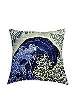 Tele d'autore by MANIFATTURE COTONIERE Cojín Con Relleno Extraíble Katsushika Hokusai-Feminine Wave (Azul/Multicolor)