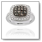 Sterling Silver 1/5ct TDW Champagne Diamond Square Ring