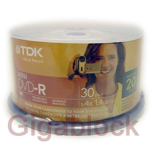 20pcs TDK Mini DVD-R 4X 1.4GB/8cm Blank Media in 20pc Cake Box For Camcorder
