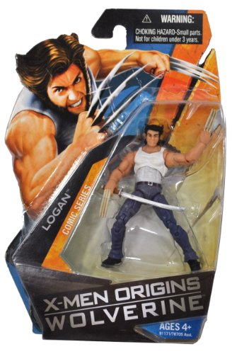 Buy Low Price Hasbro X-Men Origins Wolverine Comic Series 4 Inch Tall Action Figure – LOGAN (White Tank Top and Blue Denim) with Samurai Sword (B003U4XZLY)