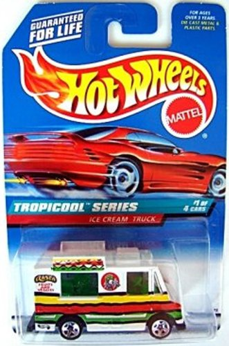 Mattel Hot Wheels 1998 1:64 Scale Tropicool Series White Ice Cream Truck Die Cast Car 1/4 - 1