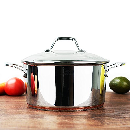 HOMI CHEF Mirror Polished Copper Band Stainless Steel 4.5 Quart Stock Pot with Glass Lid (9.5 Inch, Nickel Free, No Coating) - 4.5 Quart Nonstick Cast Iron Stainless Steel Dutch Oven with Cover