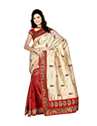 Dancing Girl Beige Red Elephant Printed Chanderi Silk Party Wear Saree