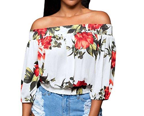 Huusa Womens Sexy Vintage Floral Print Off Shoulder Crop Top Clubwear M White