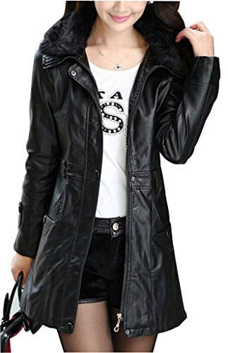 MinQBS Women's PU Leather Slim Belt Coat Faux Fur Collar Mid-Long Jacket