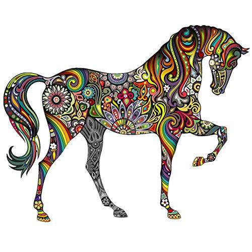 Forest Animals Wall Stickers Beautiful Colorful Horse Removable Vinyl Decal Art Mural Home Decor Sticker,Set of 2 (Good Company Always Welcome Decal compare prices)