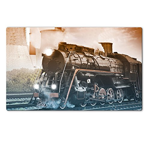 MSD Natural Rubber Large Table Mat 28.4 x 17.7 x 0.2 inches Steam train departs from the territory of electric power station Photo made in vintage style IMAGE 30530373 (Target Depart compare prices)
