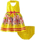 Blueberi Boulevard Baby-girls Newborn Foil Dot Border Sundress