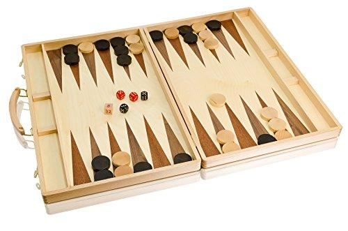 MEILLEURE qualité énorme BACKGAMMON marqueterie 58x45cm en bois artisanaux ensemble en hêtre coffre !