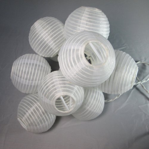 LampLust Set of 10 Oriental Round Mini Plug-in String Light Lanterns - White