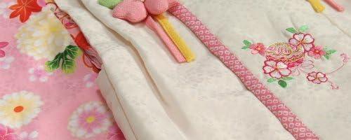 七五三 着物 3歳 女の子被布セット 和遊楽ブランド ピンク 被布ベージュ 桜刺繍 金彩 刺繍半衿付き 足袋付フルセット