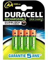 Duracell - Pile Rechargeable - Duralock AAx4 Stay Charged 2400 mAh (LR6)