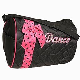 Girl\'s Quilted Nylon Dance Duffle Bag w/ Dark Pink Polka Dot Bow (Black)