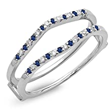 buy 14K White Gold Round Blue Sapphire Ladies Anniversary Wedding Enhancer Guard Double Ring (Size 7)