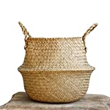 "Natural Seagrass Belly Basket with Handles, Large Storage Laundry Basket (12.6"" Diameter x 11"