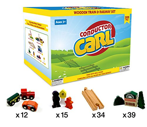 Conductor Carl Wooden Train Set, 100 Piece