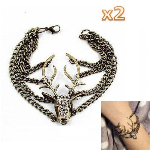 sodialr-2pcs-pack-fashion-vintage-deer-bracelet-bronze