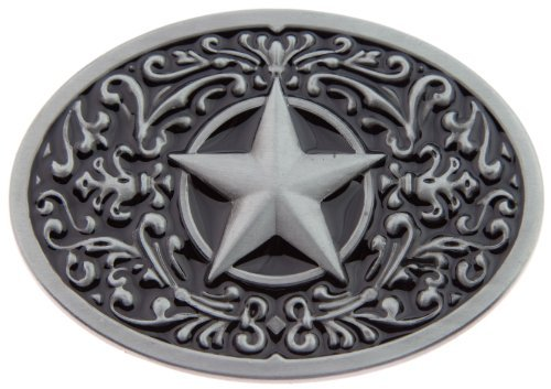 1 X Texas Lone Star State Black Silver Logo Western Rodeo Belt Buckle