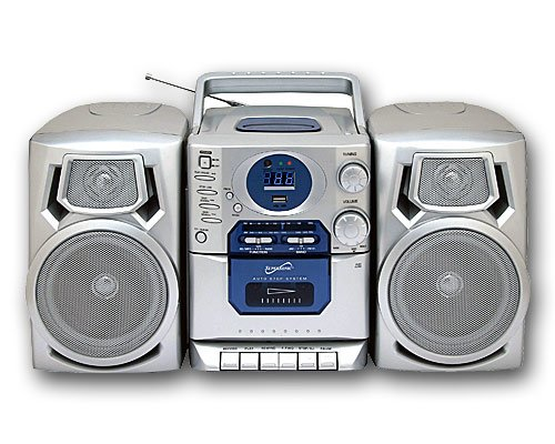 Supersonic SC-803 Silver Digital AM/FM CD Player Cassette Recorder Radio Boombox w/USB Input