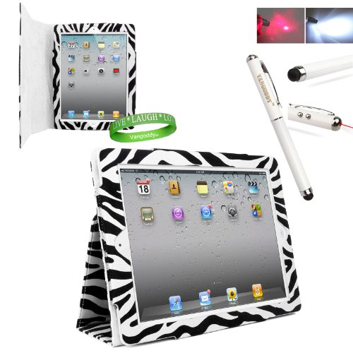 Zebra iPad Skin Cover Case Stand with Screen Flap and Sleep Function for all Models of The NEW Apple iPad 3 (3rd Generation, wifi , + AT&T 3G , 16 GB , 32GB , MD328LL/A , MD329LL/A , MD330LL/A, ect..) + Live * Laugh * Love Vangoddy Trademarked Wrist Band + Multifunctional iPad Stylus with Laser Pointer & LED Light *Batteris INCLUDED*