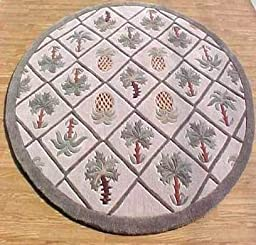 8X8 Round Area Rug Tropical Palm Tree & Pineapple Design 1 Inch Thick