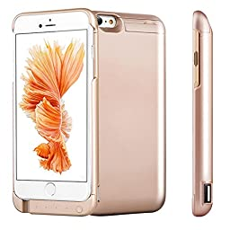 iPhone 6 Battery Case, Rhidon 7000 mAh Power Bank Case Rechargeable Protective Battery Charging Case for Apple iPhone 6S (4.7 inch) (Gold)