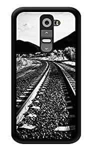 """Humor Gang Railway Track Monochrome Printed Designer Mobile Back Cover For """"LG G2"""" (3D, Glossy, Premium Quality Snap On Case)"""