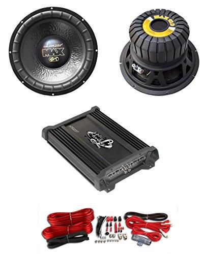 "2) Lanzar Max12D 12"" 2000W Car Subwoofers Subs+Mono Power Amplifier+4 Ga Amp Kit"