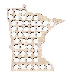 Minnesota Beer Cap Map - 13x15 inches - 48 caps - Beer Cap Holder Minnesota - Birch Plywood